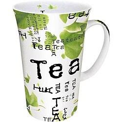 Konitz Tea Collage White/ Green 10-oz Mugs (Set of 4) 6034345