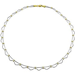 Fremada Elegant 10k Gold Two-tone Lacy Style Necklace
