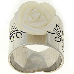 Meredith Leigh Sterling Silver Mother of Pearl Flower Ring