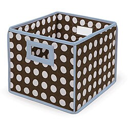 Brown Polka Dot with Blue Trim Folding Baskets (Pack of 3) 6097501