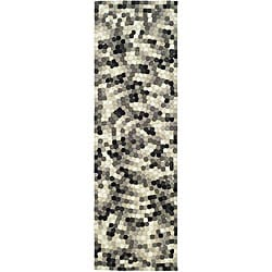Safavieh Handmade Soho Mosaic Black New Zealand Wool Runner (2'6 x 8')