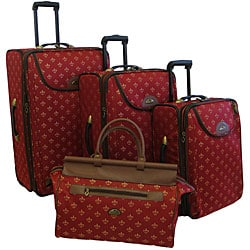 American Flyer Lyon Red 4-Piece Luggage Set