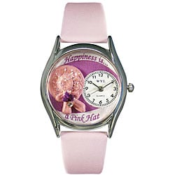 Whimsical Pink Hat Theme Pink Leather Watch