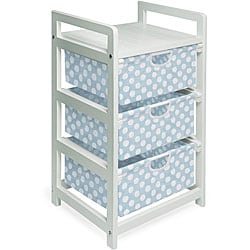 Three-drawer White with Blue Polka Dots Hamper/ Storage Unit