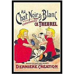 Oge 'Chat Noir et Blanc' Framed Canvas Art