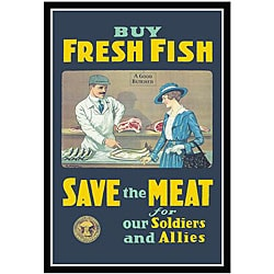 US Government 'Buy Fresh Fish Save Meat' Framed Art Print