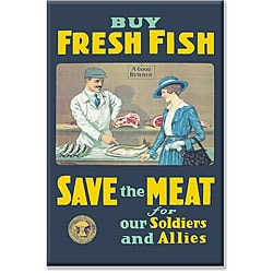 US Government 'Buy Fresh Fish Save Meat' Gallery-wrapped Canvas Art