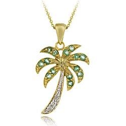 Glitzy Rocks Gold Over Silver Emerald and Diamond Palm Tree Necklace 6345020