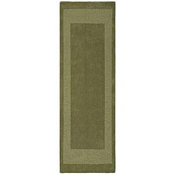 Hand-tufted Moss Green Border Wool Rug (2'5 x 12')