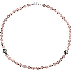 Silver Faceted Pink Glass Necklace (Thailand)