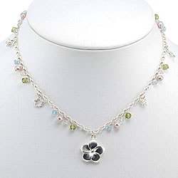 Sterling Silver Pearl Flower Charm Necklace (Thailand)