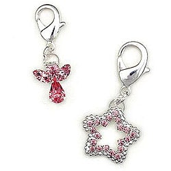 Austrian Crystal Pink 'Angel' and 'Star' Pet Collar Clips (Set of 2)