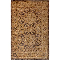 Hand-woven Rochelle Traditional Border Hemp Rug (5' x 8')