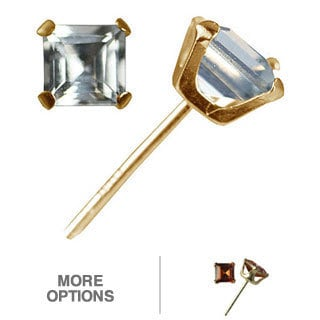 10k Yellow Gold Square-cut Aquamarine Stud Earrings