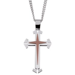 Two-tone Stainless Steel Multilevel Cross Necklace