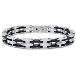 Stainless Steel and Rubber Bike Chain Link Bracelet