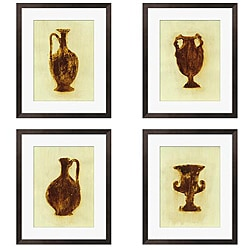 Leslie Saris 'Designs in Green & Brown' 4-piece Art Set