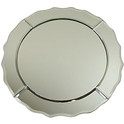 ChargeIt! By Jay Scallop-edge Round 13-inch Mirror Glass Charger (Set of 6)