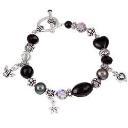 Lola's Jewelry Pewter Black Onyx and Pearl Bracelet (9 mm) 6554707