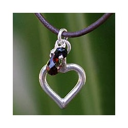 Sterling Silver 'Life In Love' Garnet Necklace (Thailand)