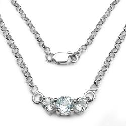 Malaika Sterling Silver Aquamarine 3-stone Necklace