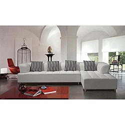 Marthena 2-piece White Leather Sectional Sofa with Ottoman