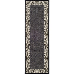 Safavieh Indoor/ Outdoor Kaii Black/ Sand Runner (2'4 x 9'11)