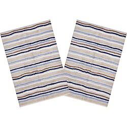 Set of 2 Ziggy Blue Cotton Rugs (2'6 x 4'2)