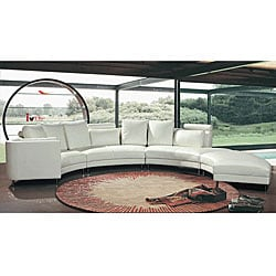 Contemporary White Bonded Leather 3-piece Sectional Set