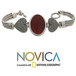 Sterling Silver 'True Love' Carnelian Heart Bracelet (Indonesia)