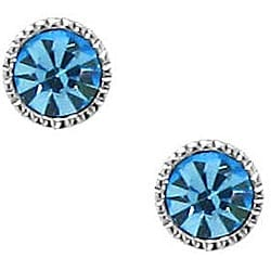 Sterling Silver Light Blue Crystal Stud Earrings