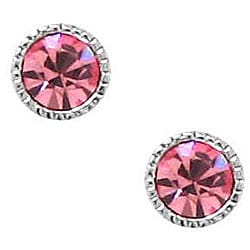 Sterling Silver Rosy Pink Crystal Stud Earrings