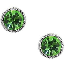 Sterling Silver Green Crystal Stud Earrings