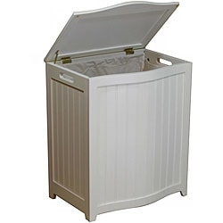 White Bowed Front Wood Laundry Hamper with Interior Bag 1088