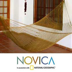 Nylon Hand-crafted 'Summer Sun' Hammock (Mexico)