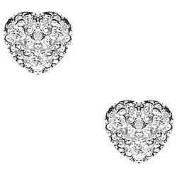 Sterling Silver Cubic Zirconia Pave Heart Stud Earrings