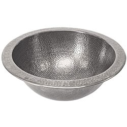 Medium Round Copper Flat Lip Pewter Finish Bathroom Sink