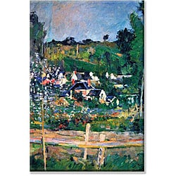 Paul Cezanne 'Village Behind the Fence' Canvas Art