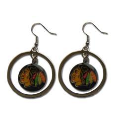 Chicago Blackhawks NHL Hoop Logo Earrings