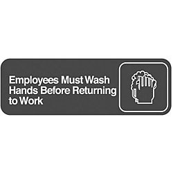 Traex 'Employees Must Wash Hands' Sign (3 in x 9 in)