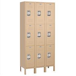 Salsbury Industries Heavy-Duty Tan Triple-Tier Standard Lockers