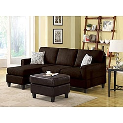 Microfiber Chocolate Reversible Chaise Sectional Sofa