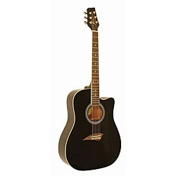 Kona High-gloss Black Dreadnought Acoustic Guitar