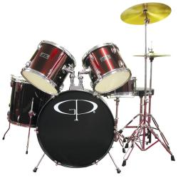 GP Percussion Wine Red Complete 5-piece Drum Set