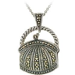 Glitzy Rocks Sterling Silver Marcasite Purse Locket Necklace 6761699