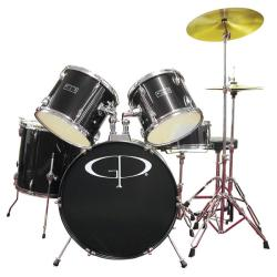 GP Percussion Black Complete 5-piece Drum Set
