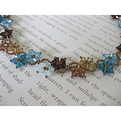 Stainless Steel Blue and Brown Delicate Crystal Flower Necklace (USA)