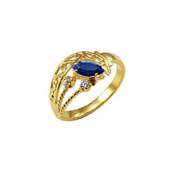 Simon Frank 14k Gold Overlay Blue/ Clear CZ Spanish Lace Ring