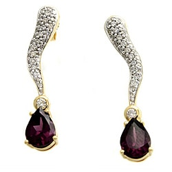14k Yellow Gold Rhodolite and 1/2ct TDW Diamond Earrings (H-I, I1)