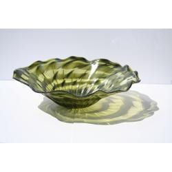 Hand-blown Green Ripple Glass Dish